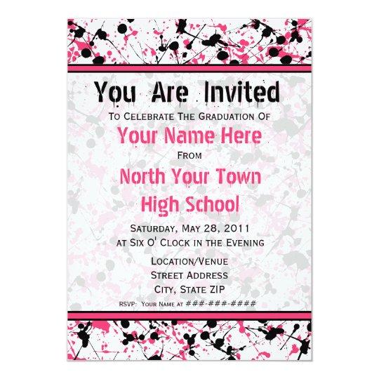 Pink & Black Splatter Graduation Invitation - 2011
