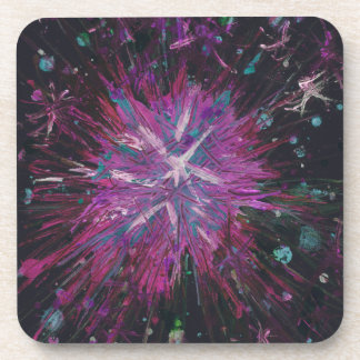 Pink Black Star Abstract Art Acrylic Painting Coaster