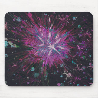 Pink Black Star Abstract Art Acrylic Painting Mouse Pad