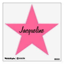 Pink/Black Star Personalized Wall Decal