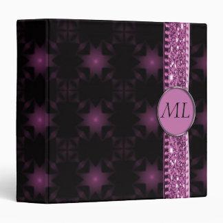 Pink & Black Starry Night Glitter Ribbon Monogram 3 Ring Binder