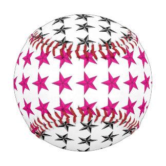 Pink Black Stars Baseball