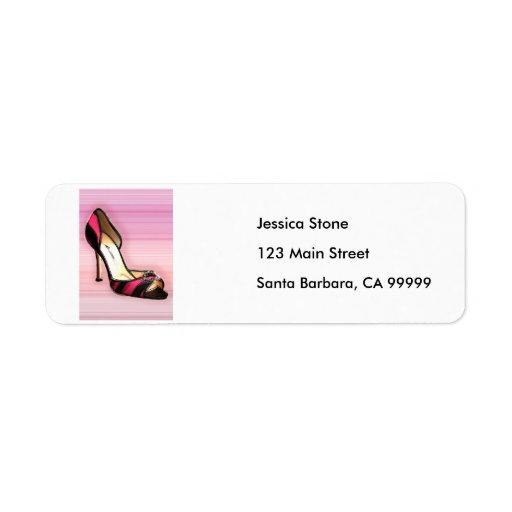 Pink & Black Stripe Return Address Labels