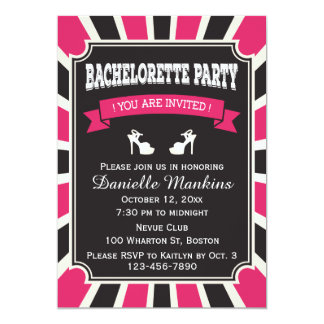 Pink & Black Stripes Bachelorette Party Card