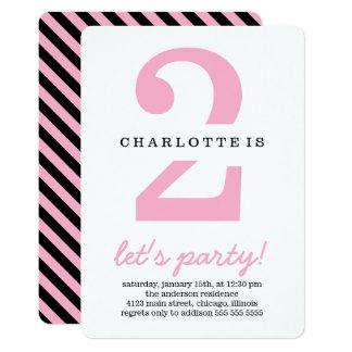 Pink & Black Stripes Kids Birthday Party Card