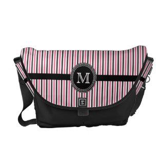 Pink black stripes monogram Rickshaw messenger bag
