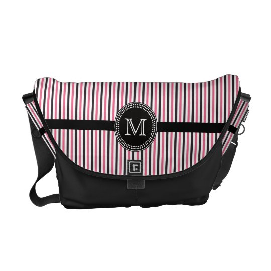 Pink black stripes monogram Rickshaw messenger bag