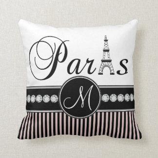 Pink Black Stripes Paris Monogram Pillow