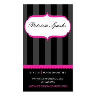 Pink & Black Stripes Parlour Business Card
