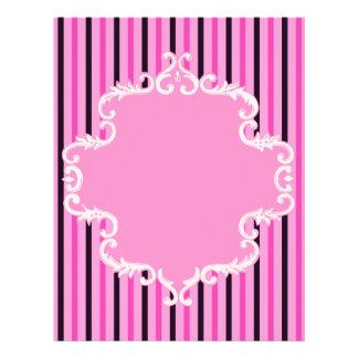 Pink Black Stripes Scroll Frame Scrapbook Paper
