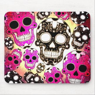 Pink black sugar skull grunge mousepad