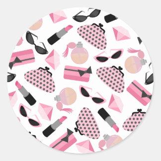 Pink & Black Sunglasses Lipstick Perfume Sticker