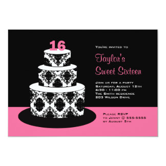 Pink Black Sweet 16 Birthday Party Invitations