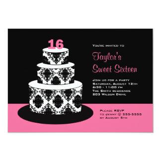 Pink Black Sweet 16 Birthday Party Invitations