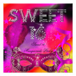 Pink Black Sweet 16 Masquerade Birthday Party Announcement
