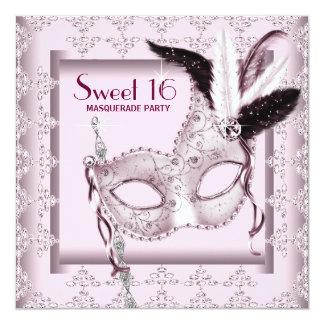 Pink Black Sweet 16 Masquerade Party Card