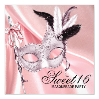 Pink Black Sweet 16 Masquerade Party Card