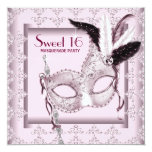 Pink Black Sweet 16 Masquerade Party Personalized Invites