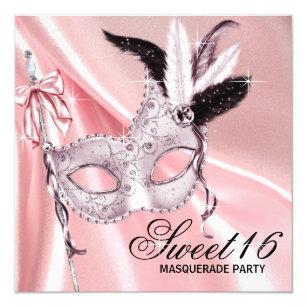 pink masquerade party invitations zazzle