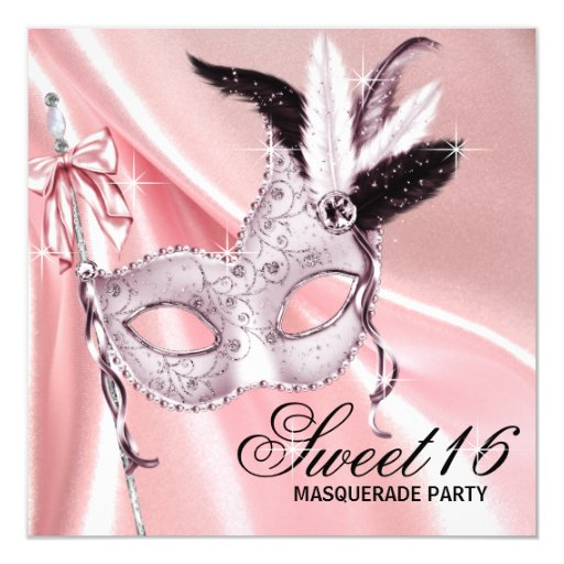 Pink Black Sweet 16 Masquerade Party Invitation