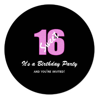 Pink Black Sweet 16 Party Round Invitations