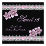 Pink Black Sweet Sixteen 16 Party White Flower Custom Announcement