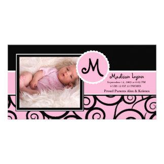 Pink & Black Swirl Baby Girl Birth Card
