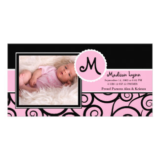 Pink & Black Swirl Baby Girl Birth Photo Cards