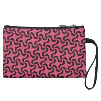 Pink & Black Swirl Patterned Clutch Bag