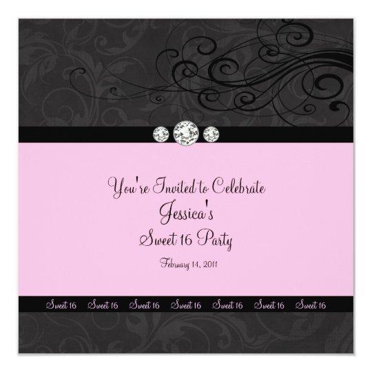 Pink Black Swirl Sweet Sixteen Party Invitations