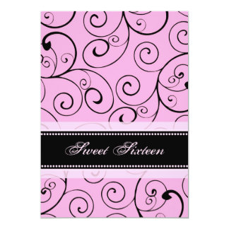Pink Black Swirls 16th Birthday Party Invitations