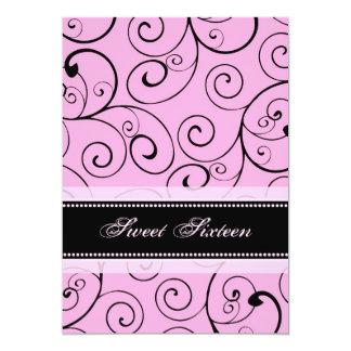 "Pink Black Swirls 16th Birthday Party Invitations 5"" X 7"" Invitation Card"