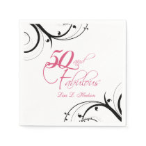 Pink Black Swirls 50th and Fabulous! Birthday Napkin