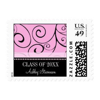 Pink Black Swirls Graduation Custom Name Stamps