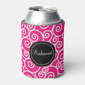Pink Black Swirls Personalized Can Cooler