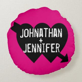 Pink + Black tattoo Hearts boy + girl friend Round Pillow
