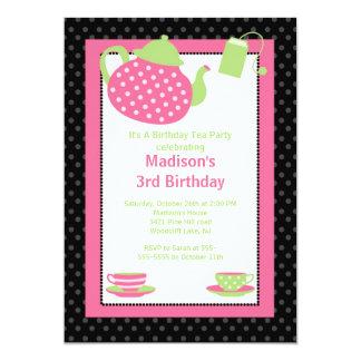 Pink & Black Tea Party Birthday Party Invitation