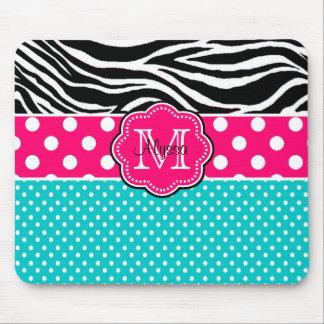 Pink Black Teal Dots Zebra Personalized Mousepad