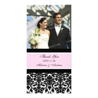 Pink Black Thank You Wedding Photo Cards