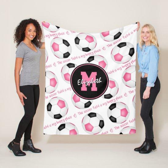 pink black The soccer field is my happy place Fleece Blanket