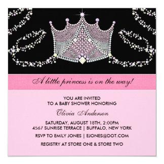 "Pink Black Tiara Baby Girl Princess Baby Shower 5.25"" Square Invitation Card"