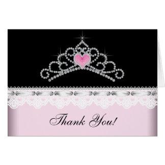 Pink Black Tiara Princess Thank You Cards