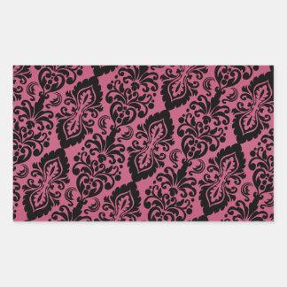 Pink Black Tilted Victorian Damask Pattern Rectangular Sticker