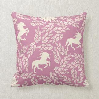 Pink & Black Trendy Unicorn & Floral Pattern Throw Pillow