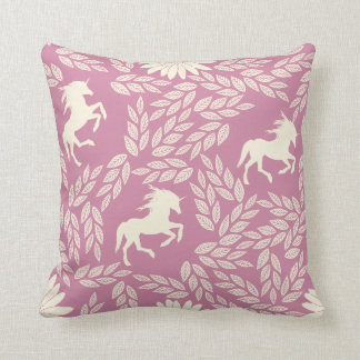 Pink & Black Trendy Unicorn & Floral Pattern Throw Pillow