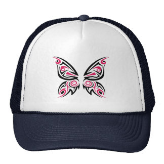 Pink Black Tribal Butterfly Tattoo Design Trucker Hat