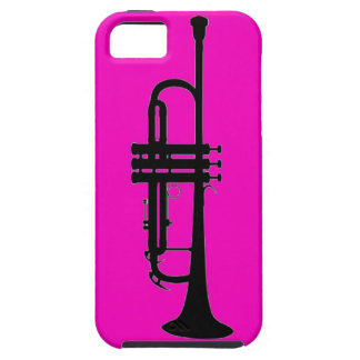 Pink black trumpet silhouette iPhone 5 cases