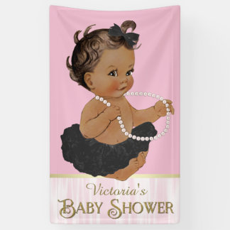 Pink Black Tutu Pearl Ethnic Girl Baby Shower Banner