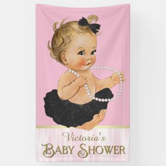 Pink Black Tutu Pearl Girl Baby Shower Banner