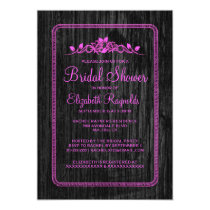 Pink Black Vintage Barn Wood Bridal Shower Invites